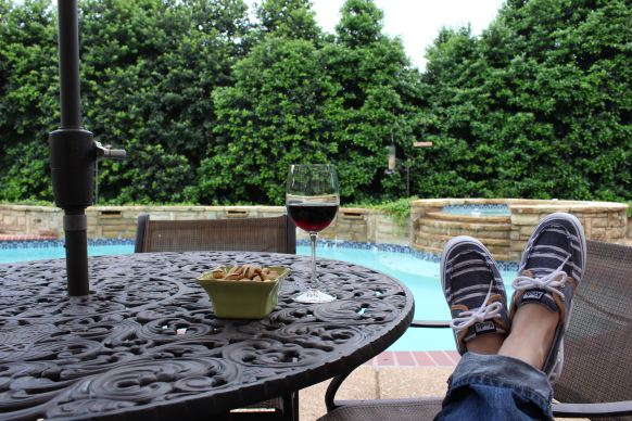 Relaxing with a glass of wine