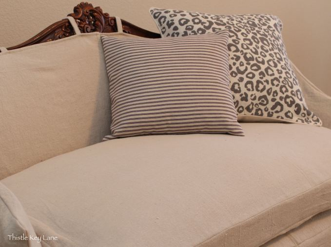 Love seat with slip cover