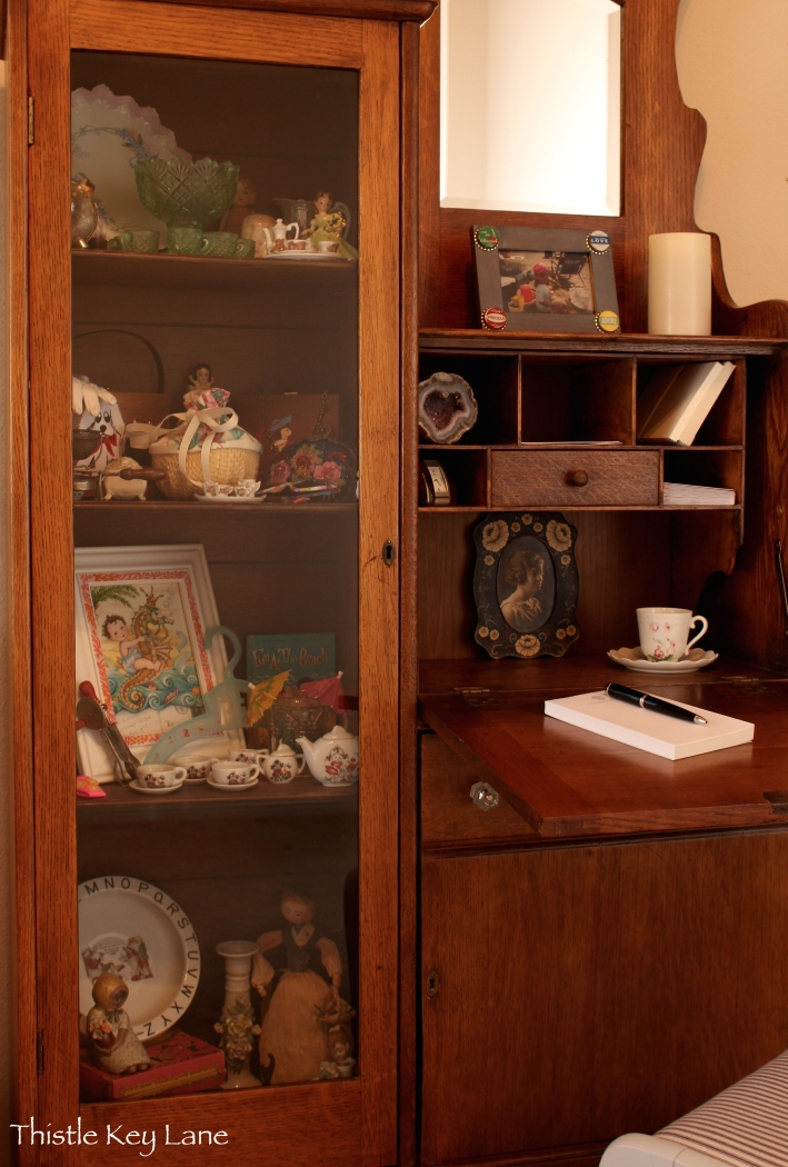 Secretary with childhood collections