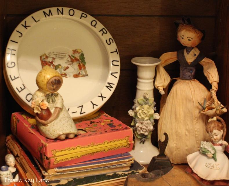 Collection on bottom shelf