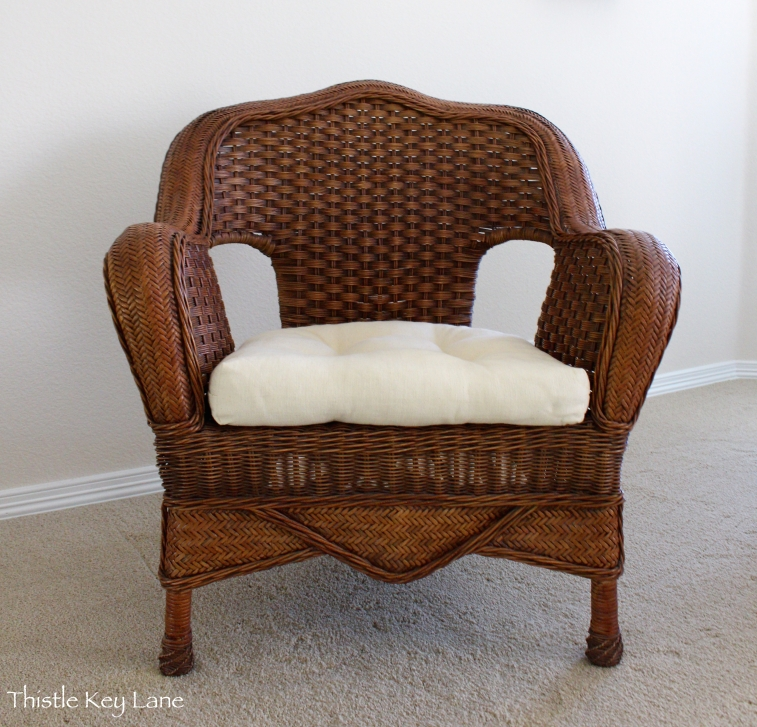 Wicker chair before with dark finish
