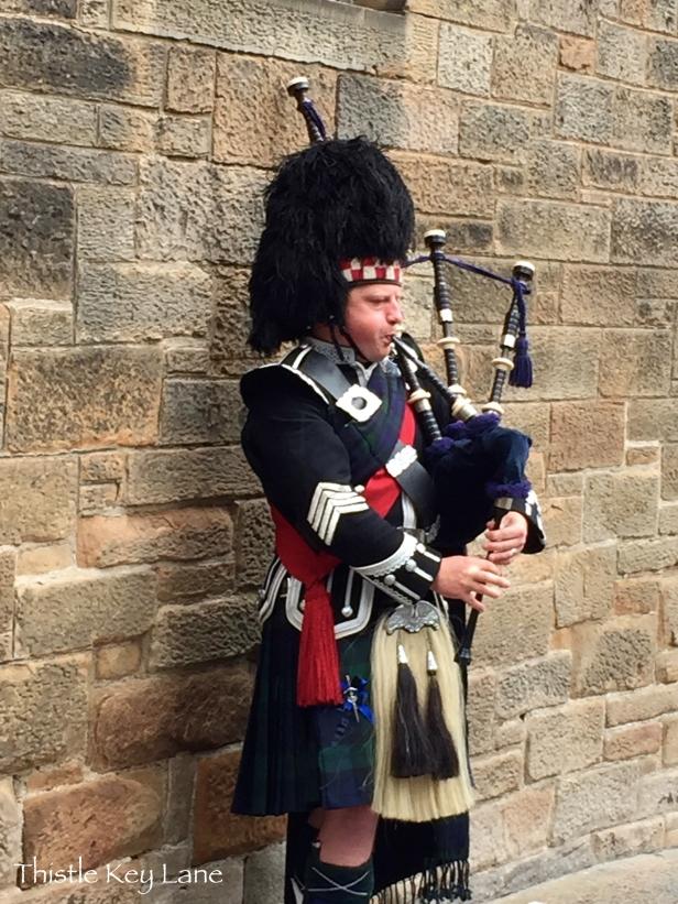 Outside Edinburgh Castle on the Royal Mile