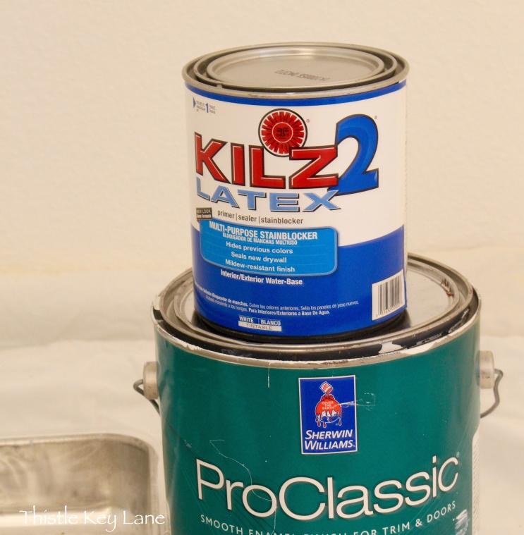 Kilz - primer and Sherwin Williams my paint of choice