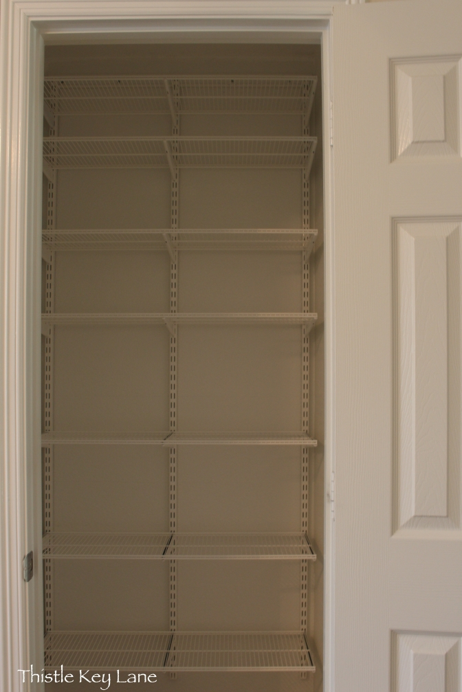 Container Store elf white wire ventilated shelves