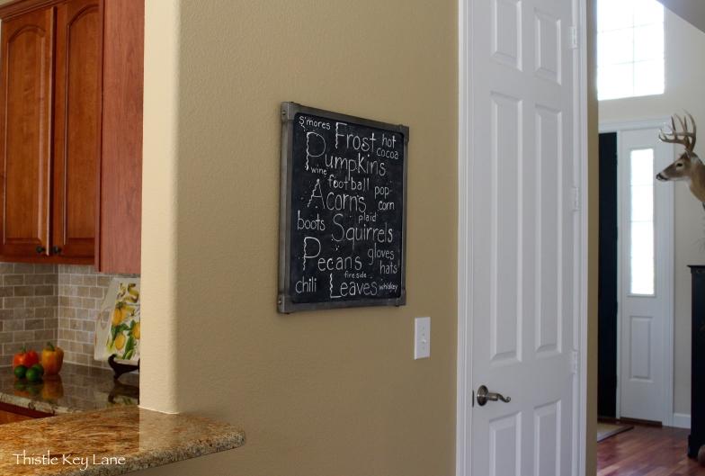 Chalkboard on display