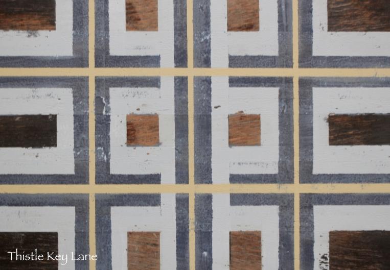 Plaid pattern after light sanding