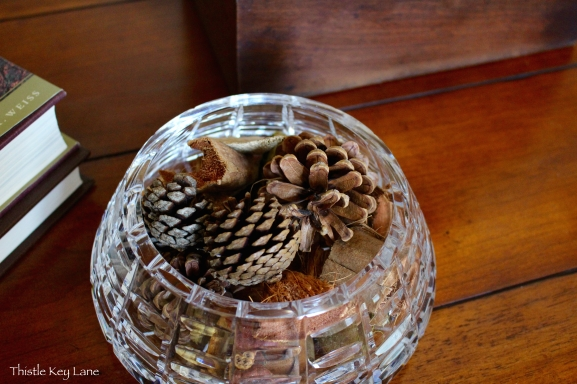 Cut glass and pinecones