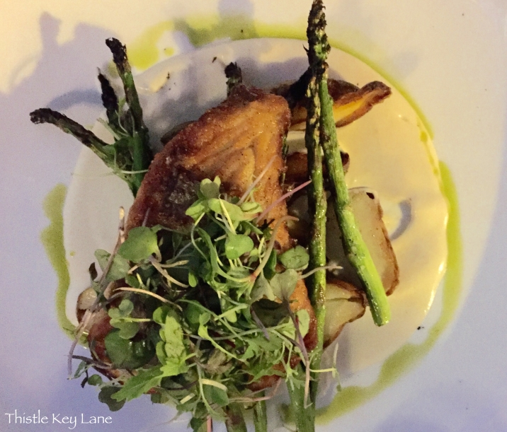 29 South - One of the specials, Grilled Grouper with asparagus, micro greens on top of a cauliflower puree