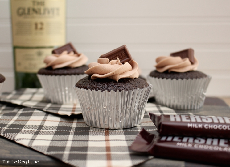 Chocolate Whisky Cupcakes with Hershey's Milk Chocolate on top