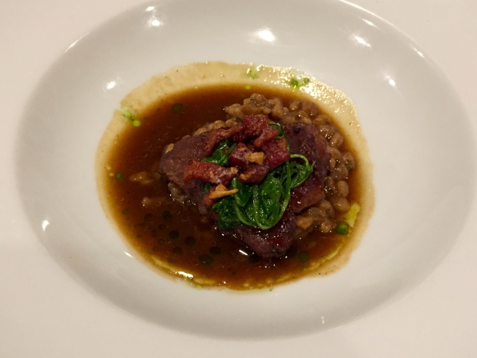 Braised Veal with porcini pear barley risotto, pancetta brown butter & parsley puree