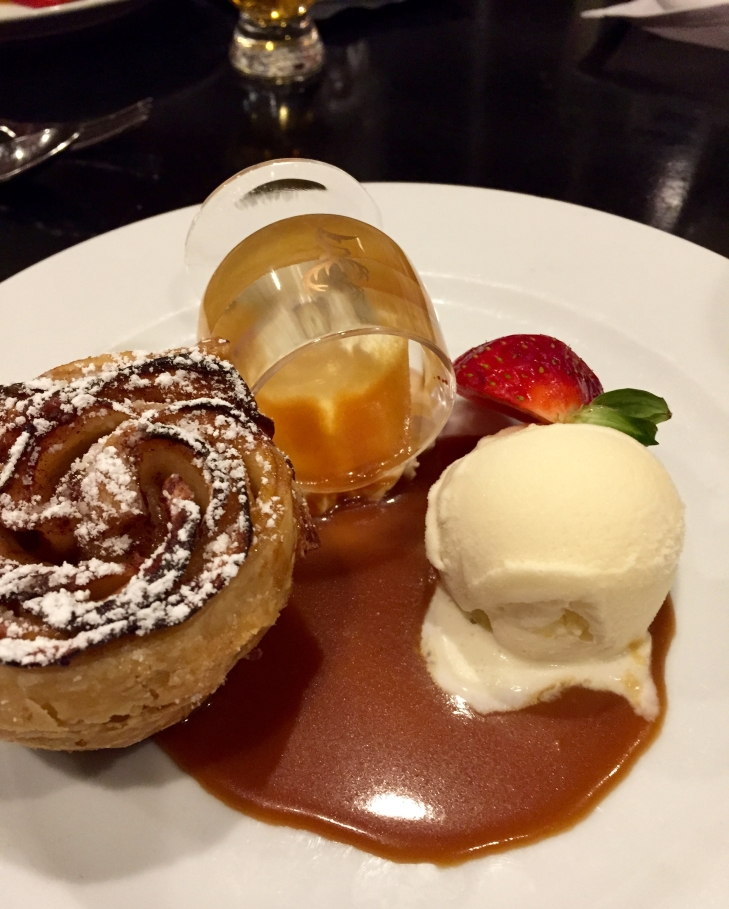 Dessert - Apple rose puff pastry and vanilla icecream with a whisky infused caramel sauce.