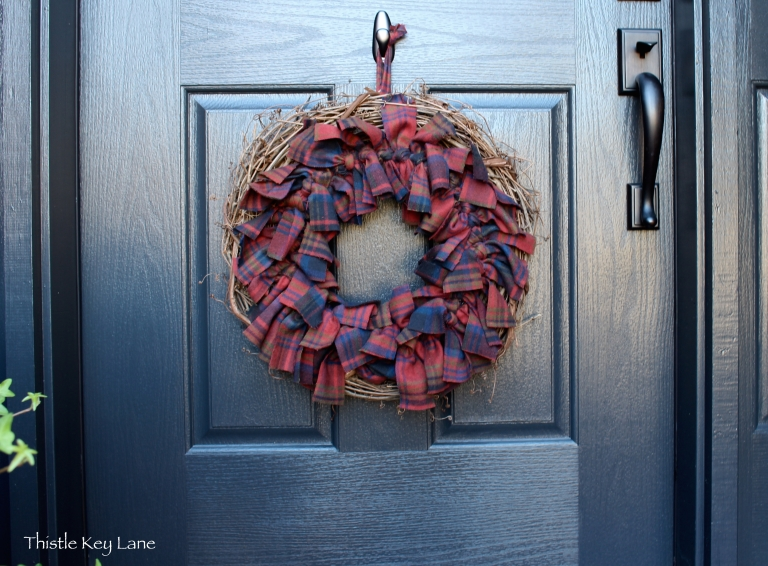 Grapevine and plaid flannel wreath