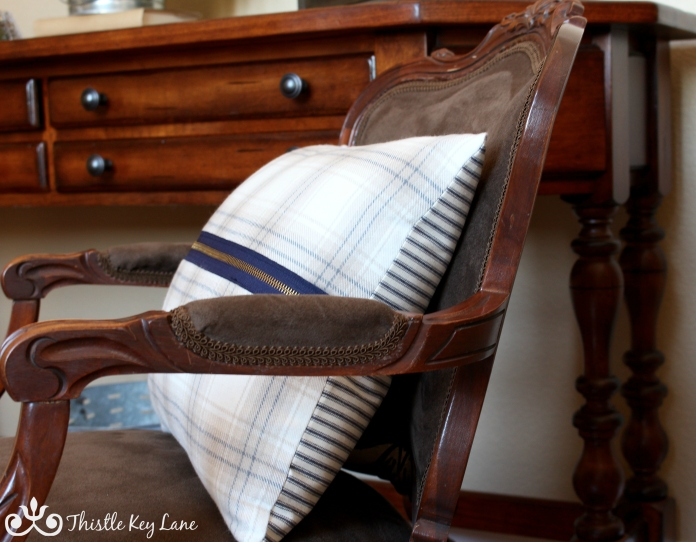 Heavy plaid flannel and navy ticking used for the pillow