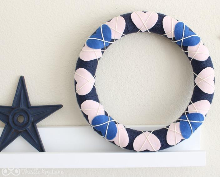 Valentine Wreath on Shelf