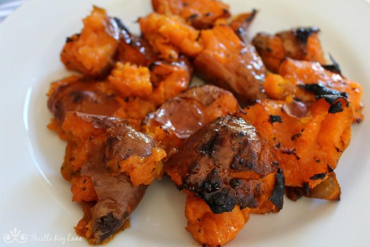 Twice-Roasted Sweet Potatoes with Hot Honey
