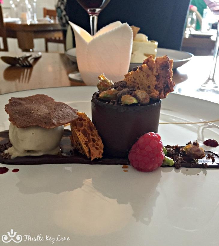 Dark Chocolate Delice, Espresso Ice Cream, Honeycomb and Candied Pistachios