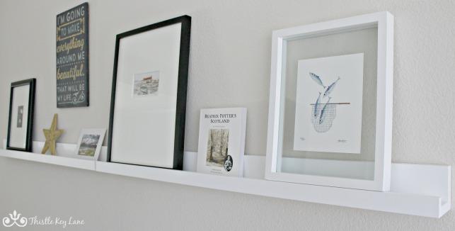 Artwork on display shelf