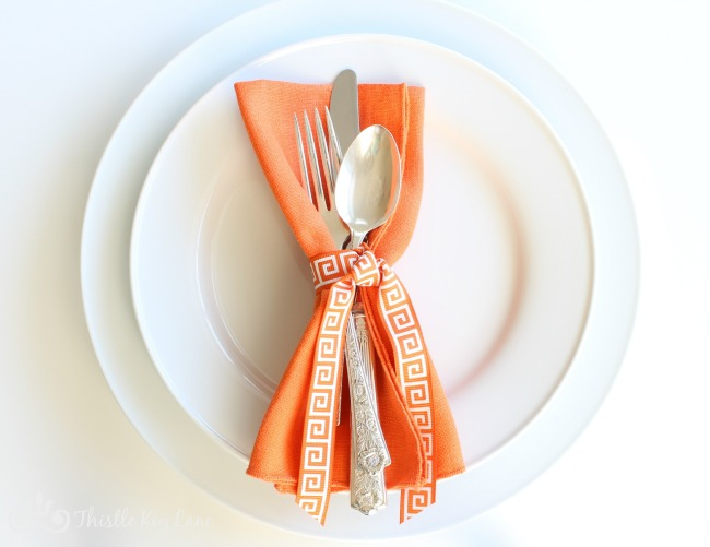 Orange Napkin with Ribbon