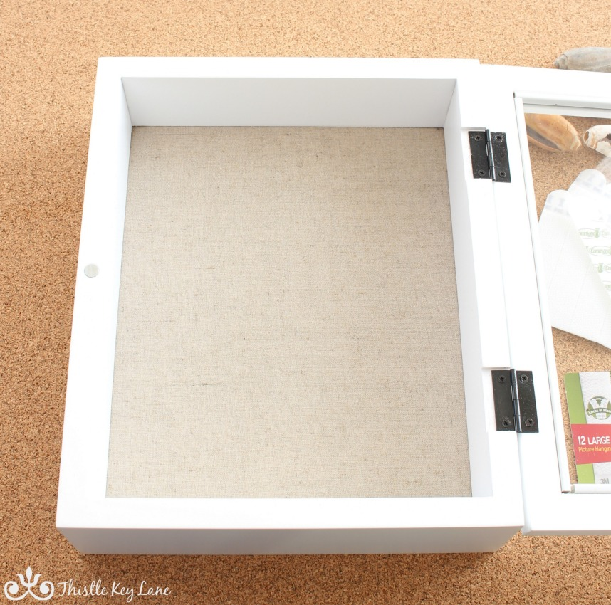 How to display shells in a shadow box.