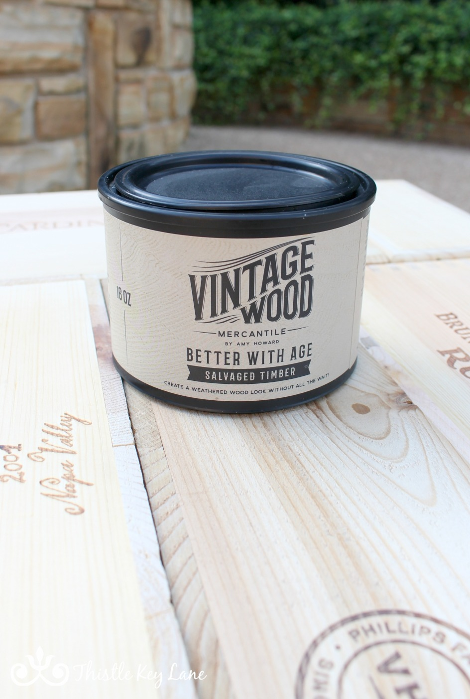 Making an end table out of wine crates. Finish using Amy Howard Better With Age and Liming Wax.