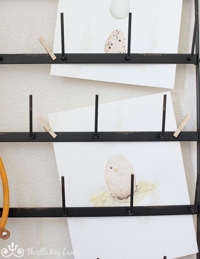 Free Printable! Spring chick watercolor on display.