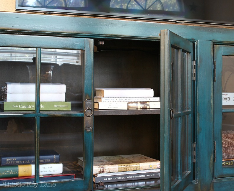 Media cabinet with books