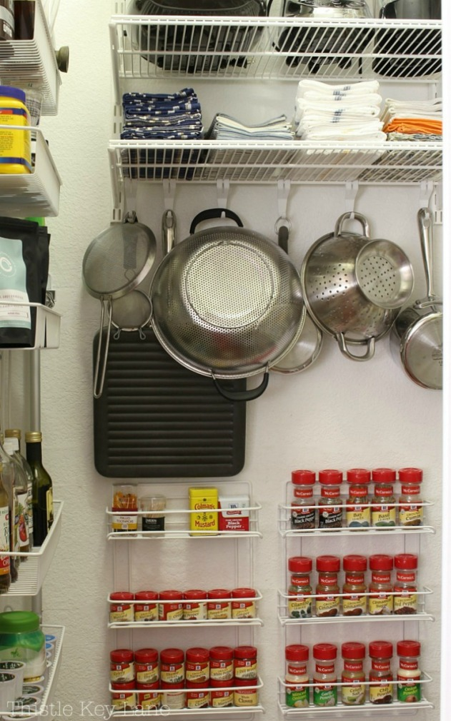 Wall racks with easy pantry accessibility.